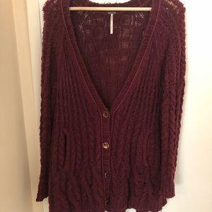 Burgundy Free People Knit Sweater/Cardigan